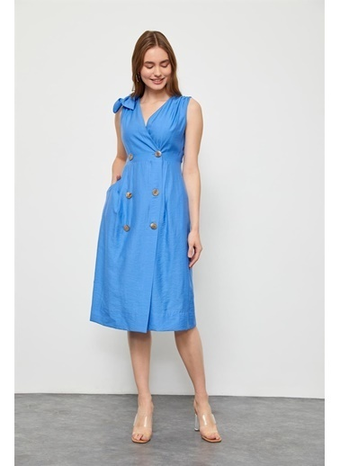 Setre Marina Mavisi Kruvaze Diz Altı Elbise Mavi